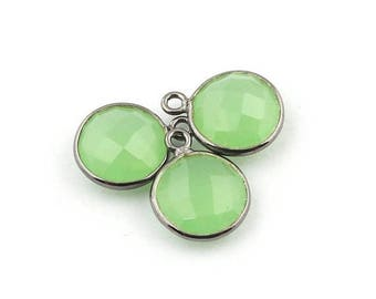 MEGA SALE 3 PCS Green Chalcedony Oxidized Silver Round Single Bail Pendant - Green Chalcedony Pendant 14mmx11mm Ss887