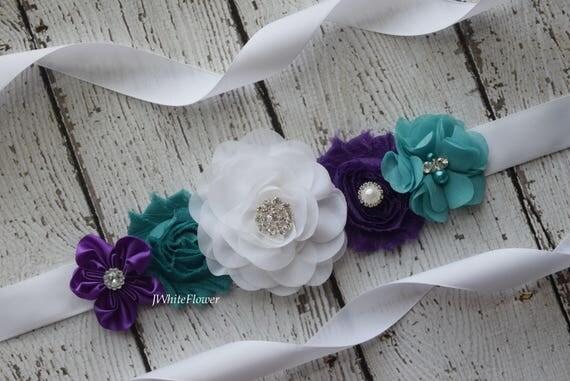 Flower Sash,  white teal purple sash , flower Belt, maternity sash, wedding sash, maternity sash girl, flower girl sash