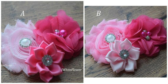 Think pink hair clip,Flower Baby clip, Newborn clip,  Infant Headband,Baby Headband, Headband Baby, Baby Headband, baptism  headband