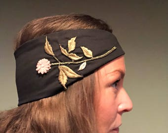 Handmade Turban style headband with embrodery detail
