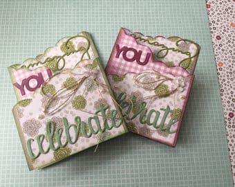 Celebrate amazing you succulent print greetings card, pink and green