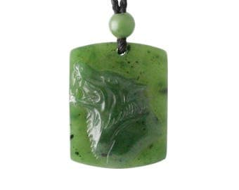 Wolf Pendant, 100% Natural Canadian Jade