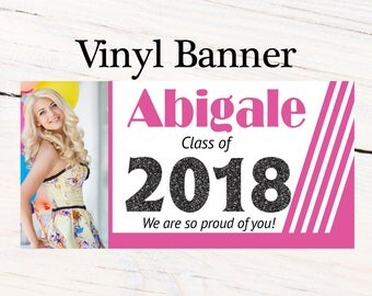 Pink Class of 2018 Graduation Photo Banner ~ Congrats Grad Personalized Party Banners -School Colors Graduation Large Banner
