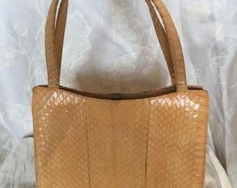 Pale tan snakeskin 60s handbag