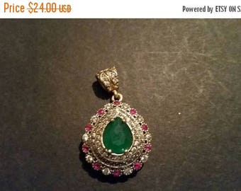 SALE Sterling Silver Bali Persian Pendant Red Green Clear Crystal Pear Statement Jewelry