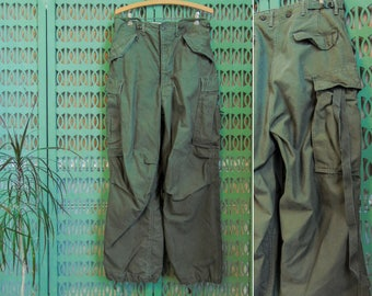 Vintage M-1951 Military Field Trousers Korean War Army Green Military Pants M1951 Regular Small Cargo Pants Army Pants Military Fatigues