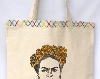 Frida Kahlo Tote Bag. Frida Canvas Bag. Frida Kahlo Shoulder Bag. Gift Friendly .