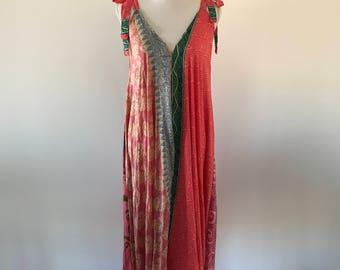 Ladies Stunning Silk Maxi Dress. Silk Sari Dress with Adjustable Straps. One Size.