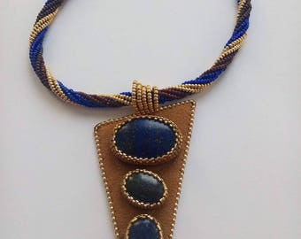 suedine cord necklace and lapis lazuli