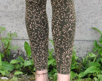 Leggings with pattern in green - blockprint