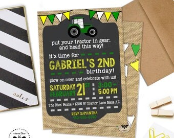 Tractor Birthday Invitation with Burlap and Chalkboard Accents, Digital Tractor Invitation, Tractor Invite with Envelopes, Tractor Party Set