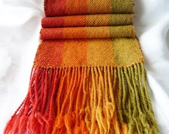Handwoven Wool Table Runner - Red-Orange-Gold-Green Stripes