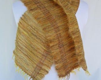 Oh, Mohair! Handwoven Mohair Scarf - Goldtones