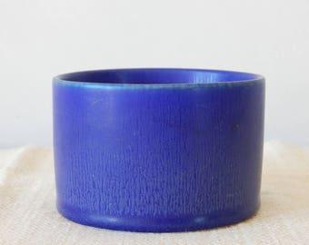 Scandinavian Vintage Stoneware Blue jar by Hertha Bengtsson for Rörstrand Signed R SWEDEN HB HDC Studio Pottery by Rostrand Sweden 1950 s.