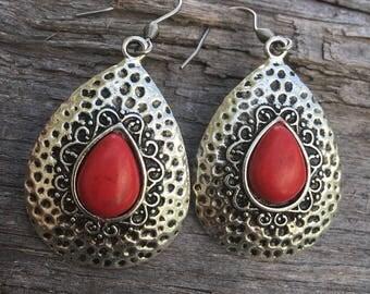 Silver and Turquoise Teardrop Earrings | Southwest Earrings | BOHO Earrings