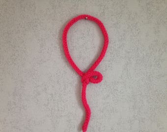 French knitting hanging ball pink