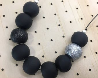Matte Black and Silver Clay Necklace