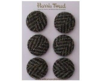Harris Tweed Pure Wool Woodland Brown Herringbone Handmade Covered Set of 6 Buttons 24mm Diameter