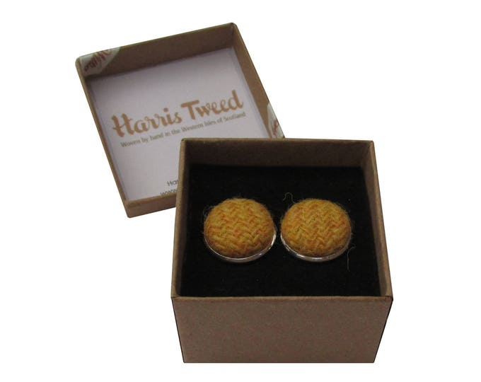 Harris Tweed Tangerine Handmade Boxed Cufflinks
