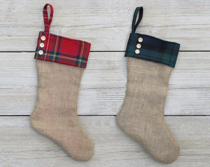 Pure Wool Tartan & Burlap Large Christmas Hanging Stocking