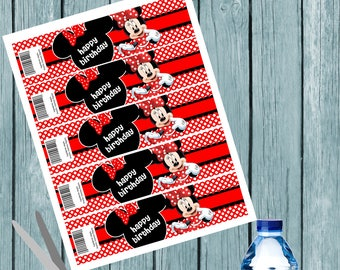 minnie mouse Water Bottle Labels, Wrap,  Party Favors,  Birthday,  Printable Instant Download