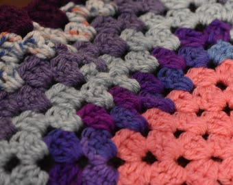 Purple & Peach Mixed Media Cat Mat -- Granny Square Crochet Pet Blanket in Plum, Blues, Peach, and Lavender