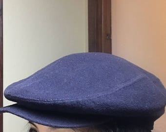 Seifter Vintage Navy Blue Cabbie Newsboy Hat Cap Cashmere Sz Large Made in the USA
