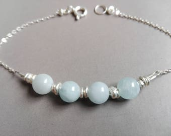 Silver and aquamarine bracelet solid minimalist