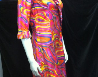 1960s/70s dress multi coloured psychedelic print