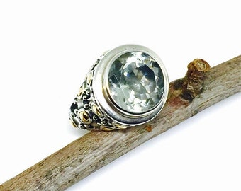 10% Green amethyst sterling silver 925, 18k gold ring. Size -6, 7, 9. Natural authentic stone. Designer ring.