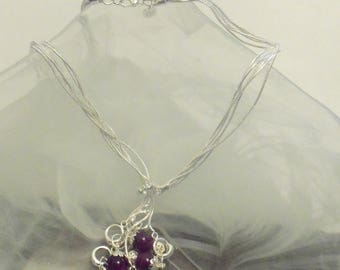 Necklace plated Silver 925 with charm bead purple Sheen and filigree beads