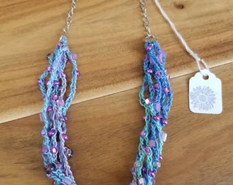 Crochet Beaded Chain Necklace