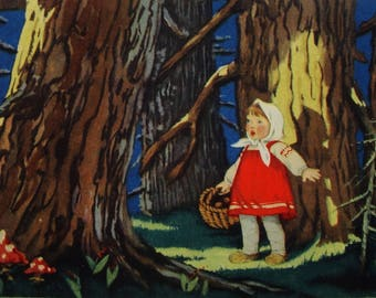 Masha and the Bear - Russian Folk Tale - Illustration by T. Sazonova - Vintage Soviet Postcard, 1955. Forest Girl Basket Fairy Tale Print