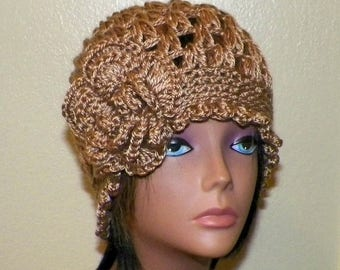 On Sale- Brown Cloche Hat Flapper Womens Downton Abby Freeform Beanie Light Brown Beige Crochet Gatsby Bucket 1920s Style