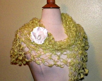 On Sale- Shawl Triangle Scarf Yellow Crochet Mohair Lace Bridal Wedding Wrap Scarf