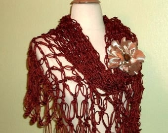On Sale- Crochet Shawl Triangle Bitteroot Rich Brown  Lace Bridal Wedding Wrap Scarf Boho Summer Wrap With Brooch
