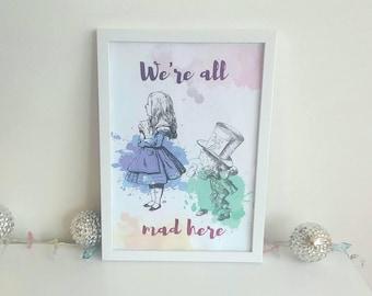 Vintage Alice in wonderland A4 framed foil print