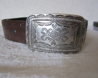 """Western-Style Unisex Brown Belt -Canada made by Buffalo. Large silver plate buckle, 7 blue stones in mid-section. Size large 40"""" long. Gift!"""