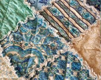 Villa Romana Medium Rag Quilt Throw - Teal, Green, Blues, Cream