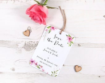 Pretty in Pink Save The Date Cards Shabby Chic Vintage Rustic