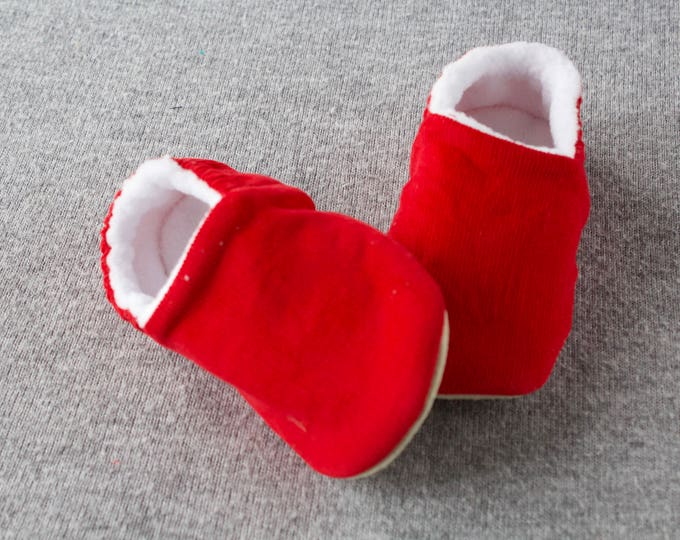 Red Corduroy  baby moccs unisex. for pre walkers and toddlers