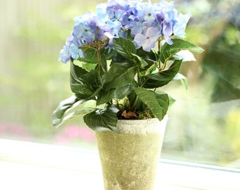 Faux Blue Hydrangea Hand-Potted Plant | Artificial Hydrangea Plant | Luxury Silk Hydrangea Arrangement |Faux Flowers | Mother's Day Gift