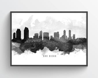 San Diego California Skyline Poster, San Diego Cityscape, San Diego Art, San Diego Decor, Home Decor, Gift Idea, USCASD11P