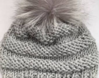 Bulky Light Gray Beanie | Wool-Blend Hat | Hand Knit | Silver Fox Detachable Pom Pom | Ready to Ship