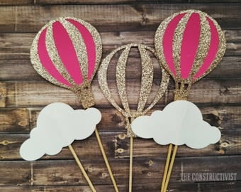 Cupcake Toppers >>HOT-AIR BALLOON<< Cupcake/Food Topper/Baby Shower/Birthday Party