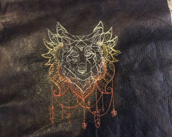 Abstract Wolf Stitched on Leather