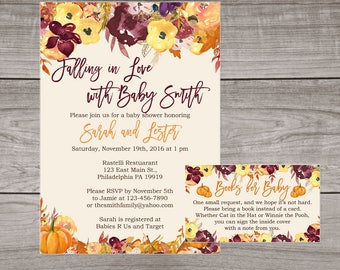 Fall Baby Shower Invitations - Fall Floral Baby Shower - Pumpkin Baby Shower Invitation - Falling in Love -  Baby-108