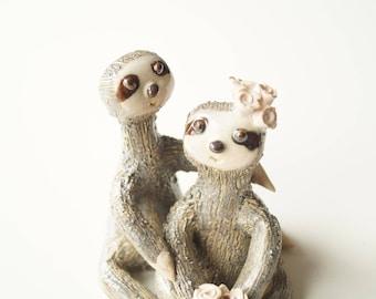 Wedding Cake Topper, Sloth cake Topper, Miniature Sloth, Sloth Sculpture, Cake Topper by Her Moments