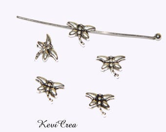 20 x silver metal Dragonfly beads