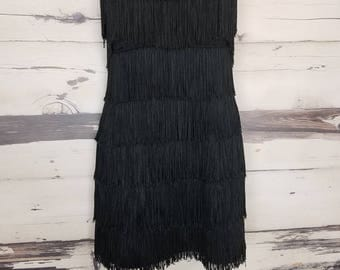 Vintage 1980s Black Roberta Fringe Wiggle Dress Mini Dress Strapless Dress Small Extra Small